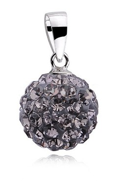 Stříbrná kulička 10 mm se Swarovski Elements - black diamond