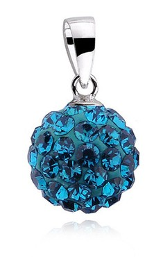 Stříbrná kulička 10 mm se Swarovski Elements - blue zircon